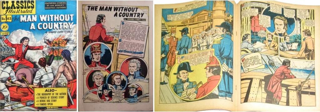 Omslag, förstasida och mittuppslag ur Classics Illustrated #63. ©Gilberton