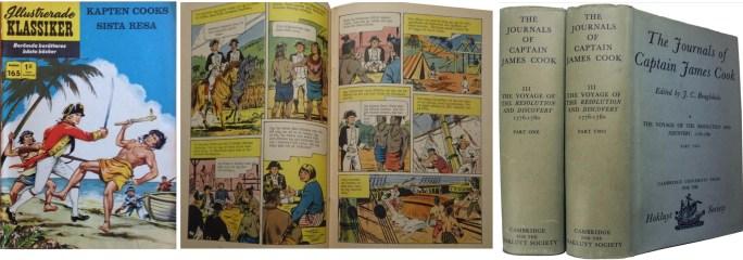Omslaget och ett uppslag ur Illustrerade klassiker nr 165, och dagböcker av kapten Cook. ©IK