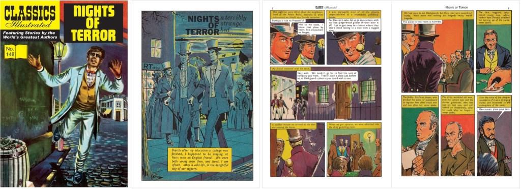 Omslag, förstasida och inledande sidor ur brittiska Classics Illustrated #148. ©T&P