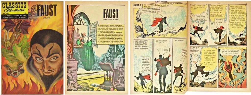 Omslag, förstasida och inledande uppslag ur Classics Illustrated #167. ©Gilberton