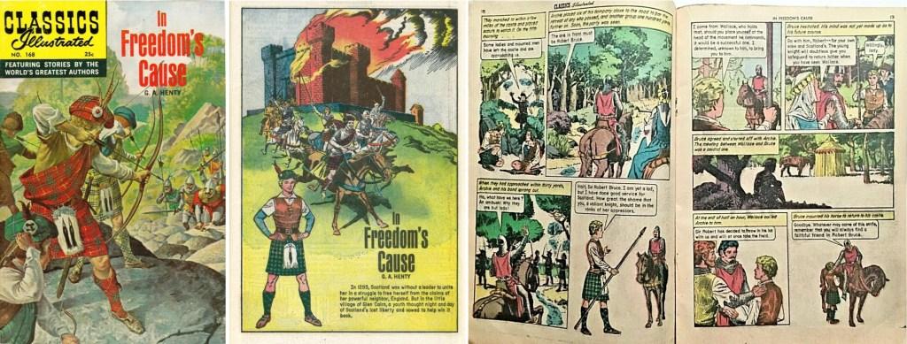 Omslag, förstasida och ett uppslag ur am. Classics Illustrated #168. ©Gilberton