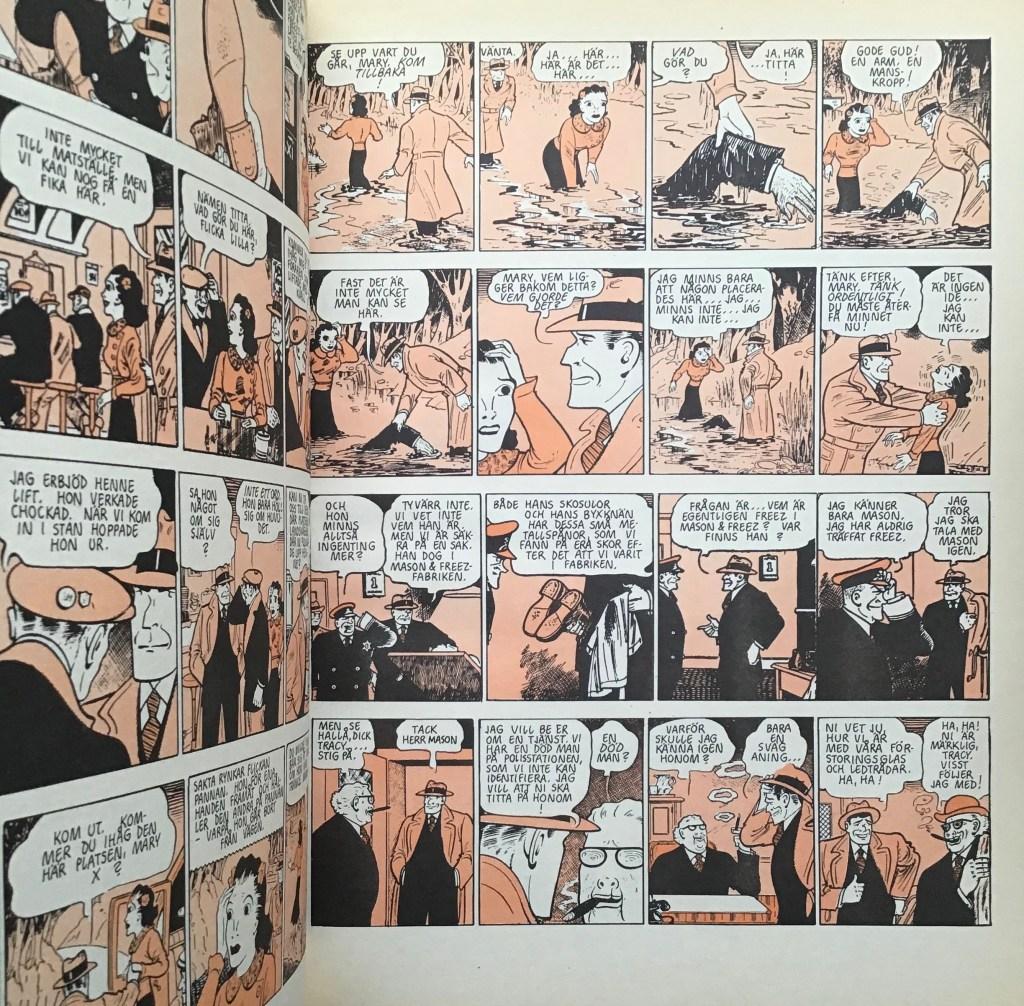 Serierna i Dick Tracy-albumet Seriebiblioteket (Hemmets Journal)  hade svart-röd färg. ©PIB
