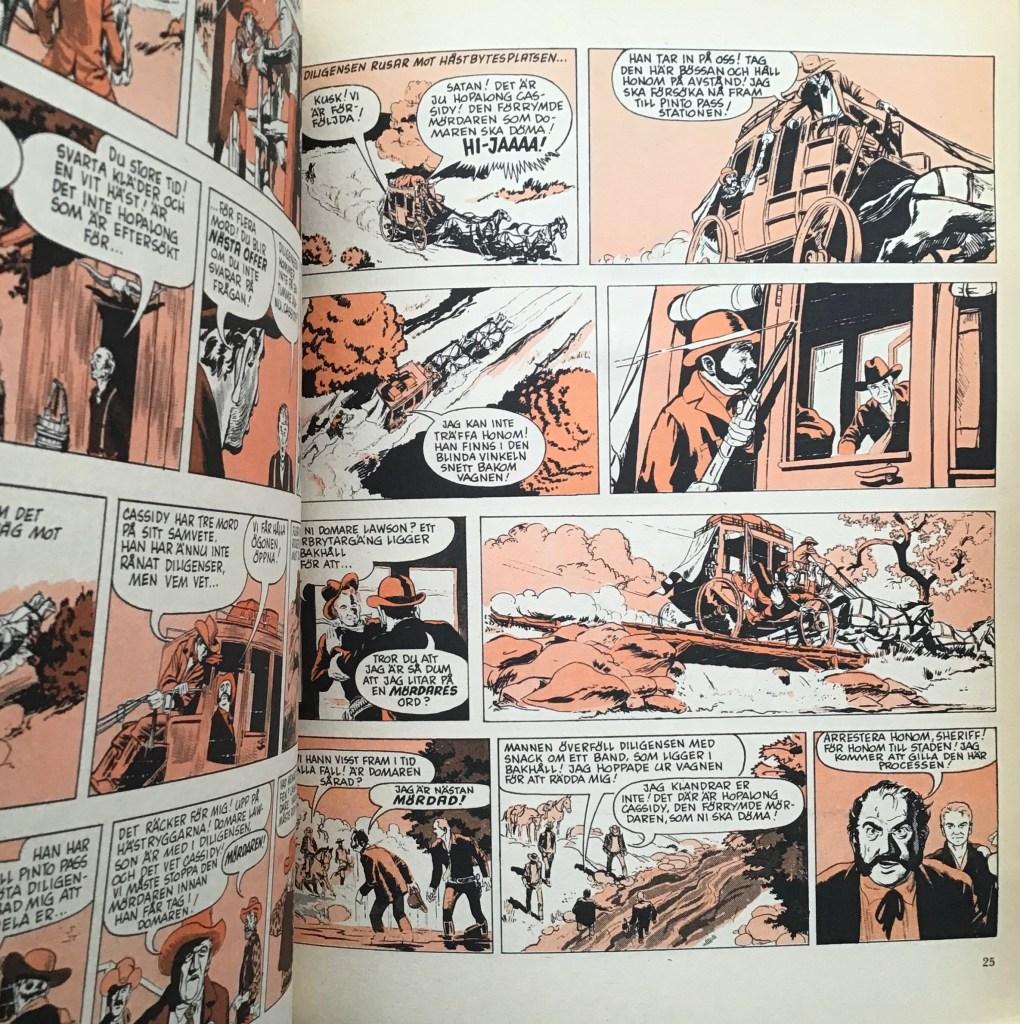 Serierna i Hopalong Cassidy-albumet Seriebiblioteket (Hemmets Journal)  hade svart-röd färg. ©Bulls