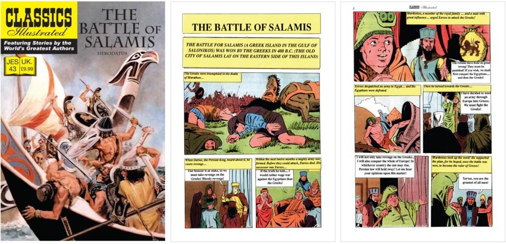 Omslag och inledande sidor ur inlagan ur Classics Illustrated (JES) No. 43. ©JES