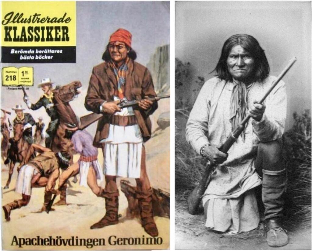 Omslag till Illustrerade klassiker nr 218, och ett foto av Geronimo från 1887. ©Williams
