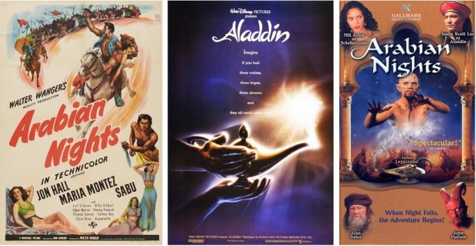 Filmaffischer från 1942 och 1992, och mini-serie för tv (2000). ©Universal/Disney/Hallmark