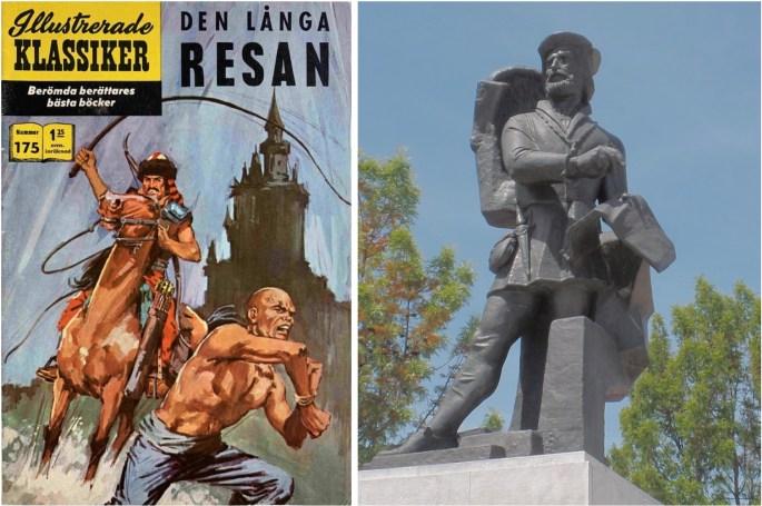 Omslag till Illustrerade klassiker 175, och staty av Fernão Mendes Pinto i Pragal, Portugal. ©IK