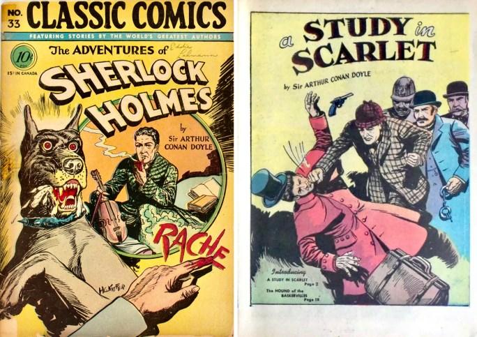 Omslag, och förstasida till A Study in Scarlet, ur Classic Comics #33. ©Gilberton