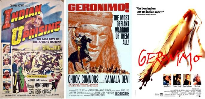 Geronimo har varit inspiration för flera filmatiseringar, här filmaffischer från 1951, 1962 och 1993. ©UA/Columbia