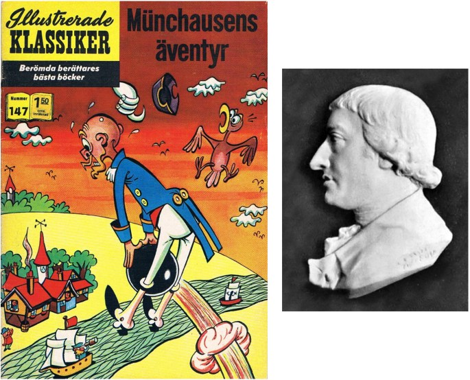 Omslag till Illustrerade klassiker 147, och en relief av Rudolf Erich Raspe. ©IK/Gilberton/T&P