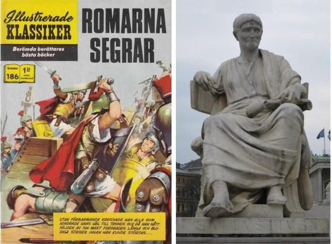 Omslag till Illustrerade klassiker 186, och en staty med Gaius Sallustius Crispus. ©Williams