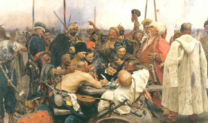 """Bataljmålningen """"Zaporogkosacker skriver brev till den turkiske sultanen"""" (1895), målad av Ilja Repin, från Ryska museet, St Petersburg. Brevet har blivit känt som diplomatins grövsta skällbrev."""