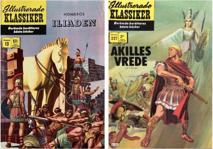 Omslag till Illustrerade klassiker 13 och 227, som båda har Iliaden som förlaga. ©IK/Gilberton