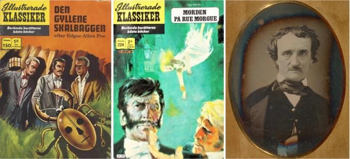 Omslag till Illustrerade klassiker 150 och 224, och fotografi av Edgar Allan Poe. ©IK/T&P/Williams
