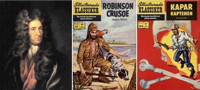 Porträtt av Daniel Defoe, och omslag till Illustrerade klassiker 31 och 145. ©IK/Gilberton/T&P