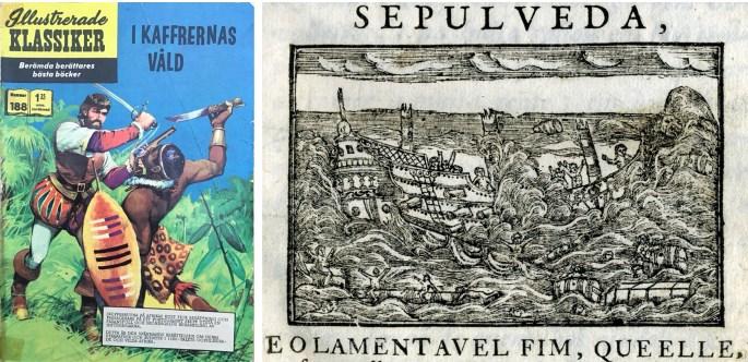 """Omslag till Illustrerade klassiker 188, och en illustration ur Historia Trágico-Marítima, från 1735, föreställande förlisningen av """"Galeão Grande S. João"""", ett verk Bernardo Gomes de Brito. ©Williams"""