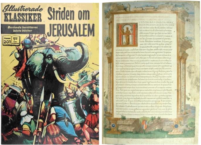 Omslag till Illustrerade klassiker 201, och förstasida till Judiska fornminnen av Flavius Josefus. ©Williams