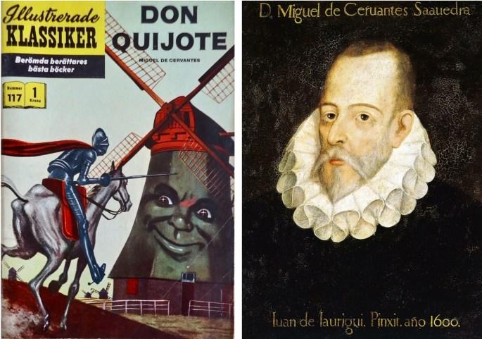 Omslag till Illustrerade klassiker 117, och ett porträtt av Miguel Cervantes (c:a år 1600), från Real Academia de la Historia, Madrid. ©IK/Gilberton