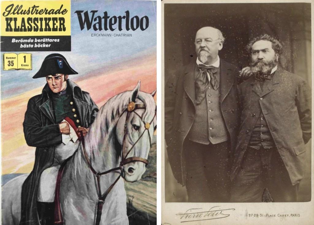 Omslag till Illustrerade klassiker 35, och ett foto med Alexandre Chatrian (t.h.) och Émile Erckmann (t.v.). ©IK/Gilberton