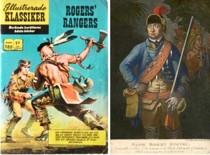 Omslag till Illustrerade klassiker 189, och ett färgtryck av Robert Rogers (1776). ©Williams