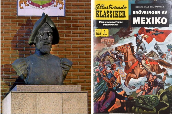 Byst av Bernal Díaz del Castillo, och omslag till Illustrerade klassiker 108. ©IK/Gilberton