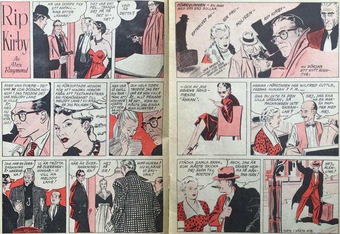 Uppslaget med Rip Kirby i Karl-Alfred nr 45, 1953. ©Bulls