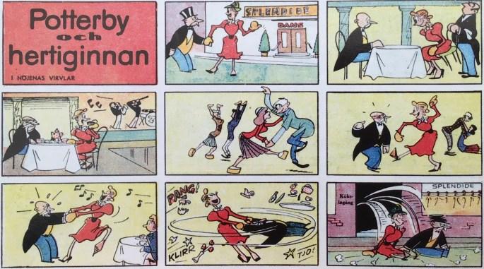 Första strippen med Potterby och hertiginnan ur Karl-Alfred nr 1, 1946. ©Bulls
