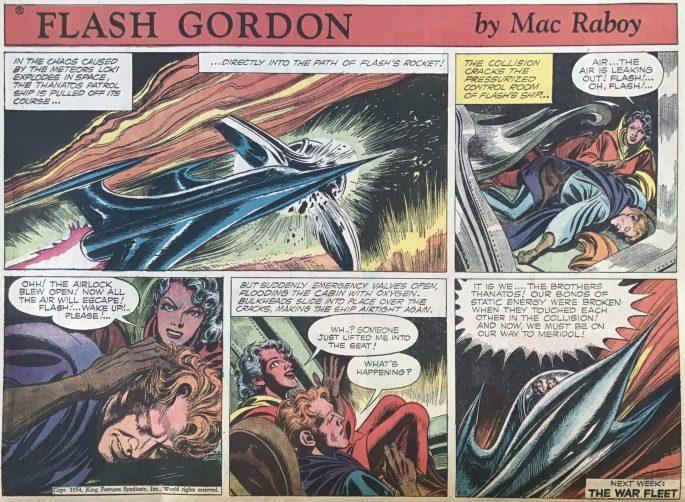 En söndagssida med Flash Gordon från 11 april 1954. ©KFS