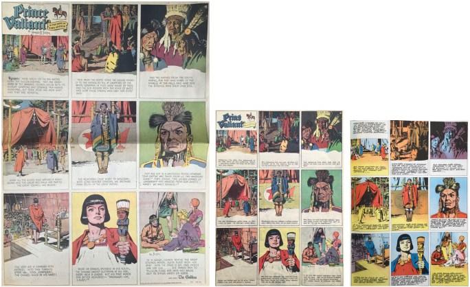 Prince Valiant i original jämfört med storleken på Prins Valiant i Karl-Alfred och i seriealbum. ©KFS/Bulls