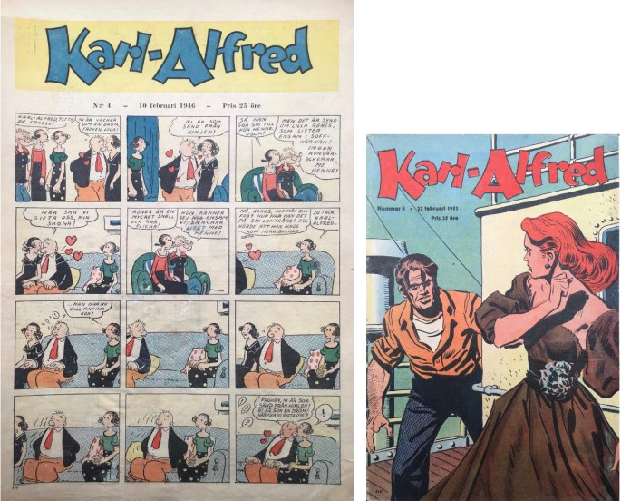 Karl-Alfred övergick 1953 från veckotidningsformat till serietidningsformat. ©Aller