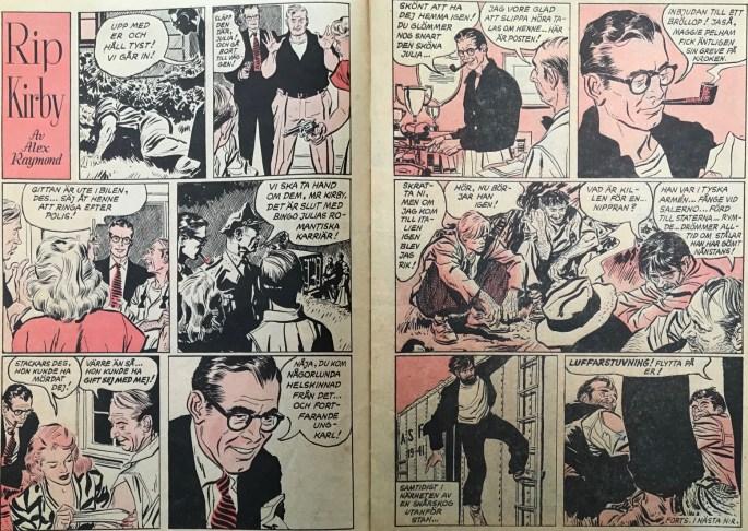 Ett uppslag med Rip Kirby ur Karl-Alfred nr 1, 1953. ©Bulls