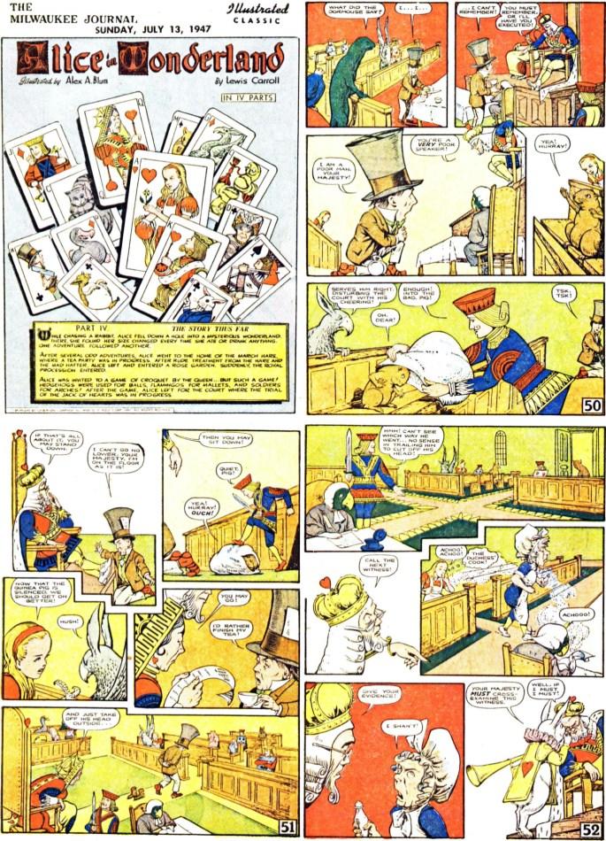 De inledande fyra sidorna (av totalt 64) ur den fjärde bilagan med Alice in Wonderland, från 13 juli, 1947. ©Gilberton
