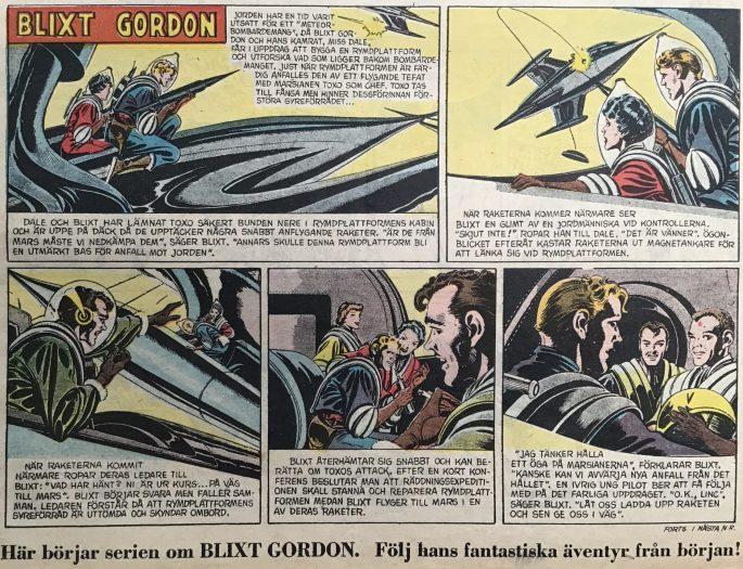 Den första strippen med Blixt Gordon från Karl-Alfred nr 32, 1952. ©Bulls