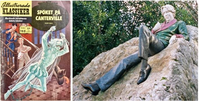 Omslag till Illustrerade klassiker 152, och en staty av Oscar Wilde, från Merrion Square, Dublin. ©IK/T&P