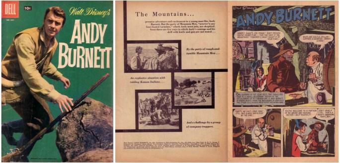 Omslag och första uppslag ur Walt Disney's Andy Burnett, Four Color #865. ©Dell