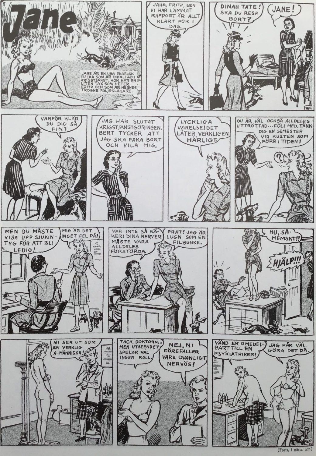Första stripparna med Jane ur Karl-Alfred nr 1, 1946. ©Daily Mirror