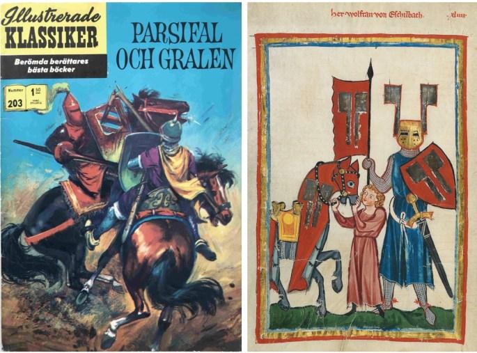 Omslag till Illustrerade klassiker 203, och en illustration av Wolfram von Eschenbach med väpnare från Codex Manesse (1305-40), en samling sånger och poesi från medeltida Tyskland. ©Williams