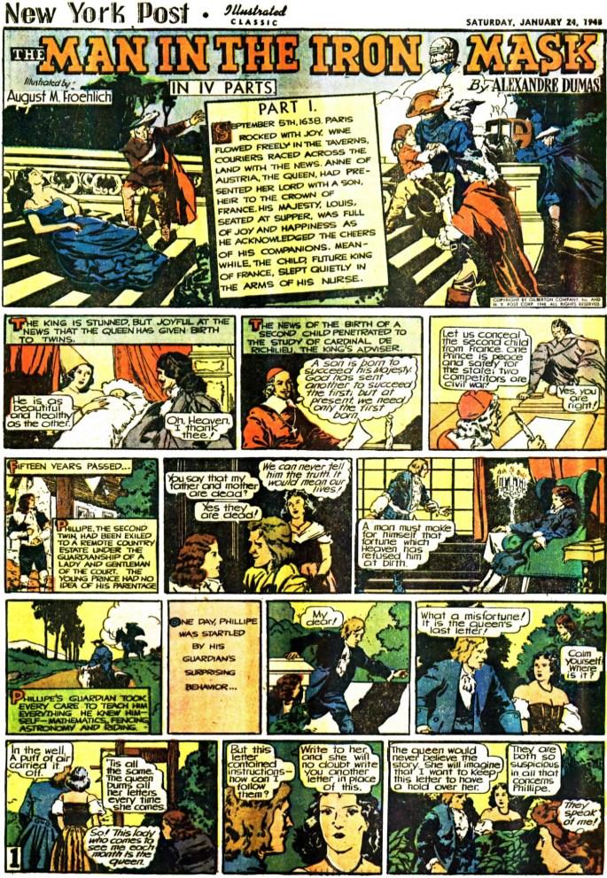 Inledande sida (av totalt 16) ur The Man in the Iron Mask, från 24 januari, 1948. ©Gilberton