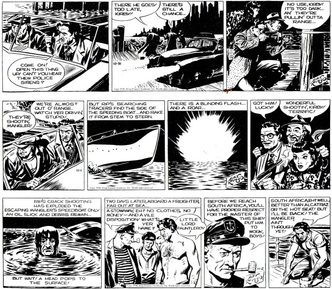 Slutet på episoden Liquid Murder i original från 31 oktober till 2 november 1946. ©KFS