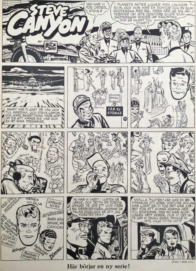 Första sidan med Steve Canyon ur Karl-Alfred nr 9, 1947. ©PIB
