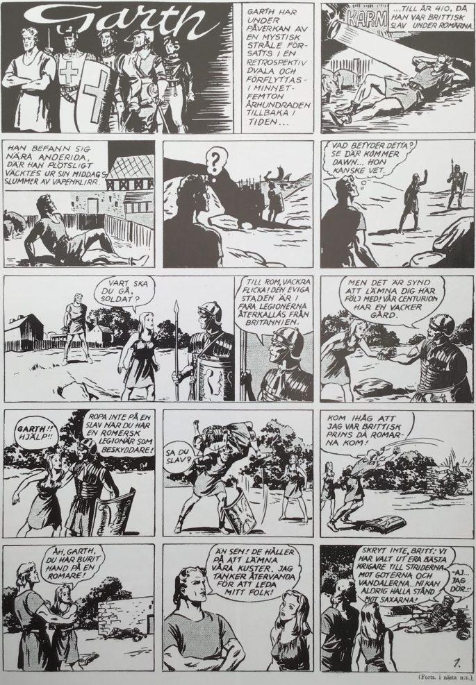 Första sidan med Garth ur Karl-Alfred nr 1, 1946. ©Daily Mirror