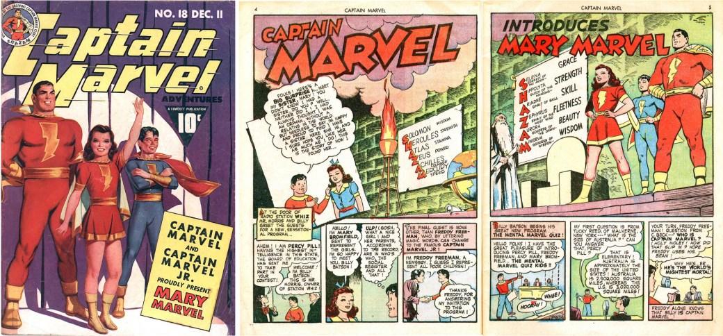 Introduktionen av Mary Marvel på omslag och ett första uppslag ur Captain Marvel Adventure #18 (December 1942). ©Fawcett