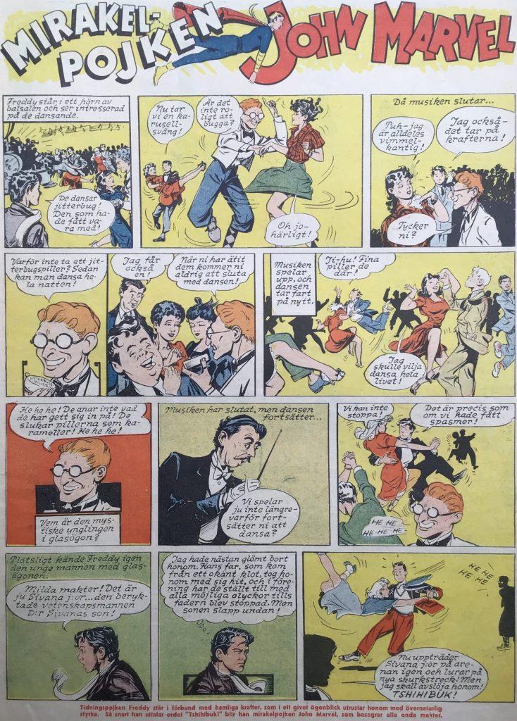 Första sidan med Mirakelpojken John Marvel ur Karl-Alfred nr 39, 1946. ©Fawcett