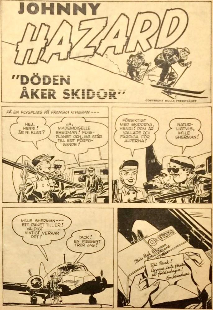 Johnny Hazard 1960: Den inledande sidan i tidningen. ©Bulls