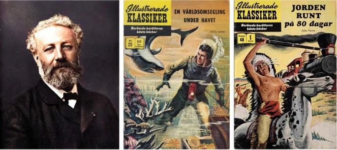 Fotografi av Jules Verne (c:a 1878) och Omslag till Illustrerade klassiker 20 och 48. ©IK/Gilberton