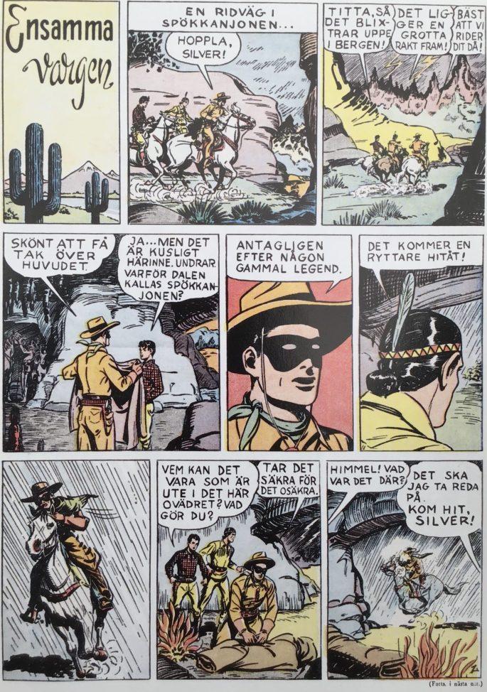 Första sidan med Ensamma vargen (Lone Ranger) ur Karl-Alfred nr 1, 1946. © Bulls