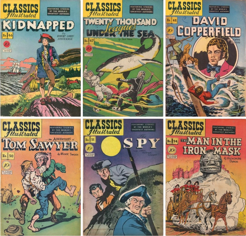 Omslag till Classics Illustrated, nr 46-48, 50-51 och 54. ©Gilberton