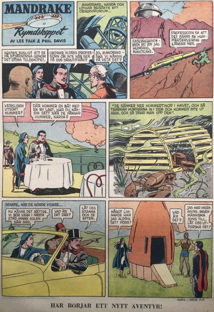 Den inledande sidan med episoden Rymdskeppet, ur Karl-Alfred nr 14, 1952. ©Bulls