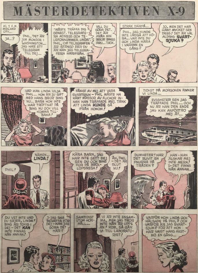 Inledande sida med episoden The Missing Memory ur Agent X-9 i Karl-Alfred nr 34, 1952. ©Bulls