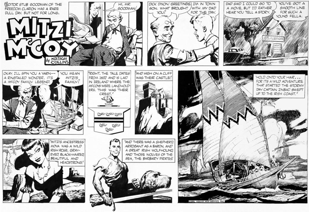 Kevin dyker upp i söndagsserien Mitzi McCoy den 24 september 1950. ©NEA